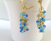 Blue and gold handmade beaded earrings, cluster earrings, glass fringe beads, clusters, light weight