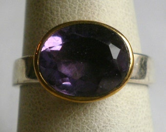 Sterling Silver Amethyst Ring-Size 6 3/4