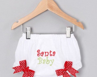 Santa Baby Diaper Cover-santa-Christmas Diaper Cover- Red and Green-