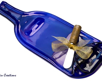 Cobalt Blue Wine Bottle Spoon Rest, Melted Bottle Cheese Tray, Barware, Eco Friendly Hostess Gift,  Dessin Creations