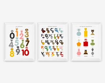 Spanish Alphabet, Number & Shape Posters, Kids wall art animal art print set of 3, Nursery Art, Children Room Decor, Classroom