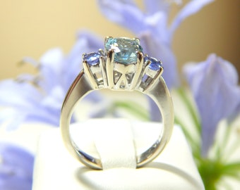 Baby Blue and Violet Cocktail Ring- 14k White Gold