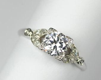 ON SALE Art Deco Platinum Engagement Ring .81 Carats