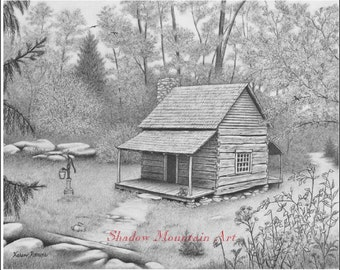 8x10 cabin landscape giclee art print of graphite drawing signed by artist Karen Romine free shipping