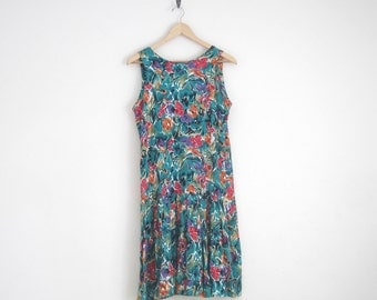 Vintage 90s Dress. Floral Print Drop Waist Dress with Pleated Skirt. Green Floral Sun Dress. Watercolor Floral Print Sleeveless Dress.