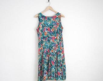 dropwaist dress with pleated skirt. floral sundress. green floral dress. vintage 90s dress. watercolor floral print. women sleeveless dress.