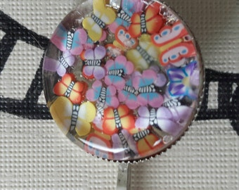 Sale was 9 now 7.50uk Butterfly Faux Milli Fiori Cabochon Hair Grip/pin