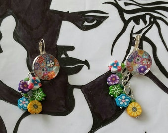 Sale was 17 now 15uk Silvertone Round Cabochon Leverback Dangels with Faux Milli Fiori and Fimo Flower earrings.