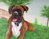 Custom boxer dog  painting from photo on canvas hand painted pet portrait art