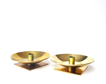 Pair of Mid-Century Brass Candle Holders
