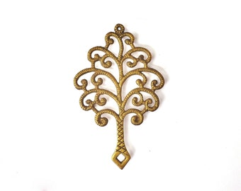 Large Vintage Brass Tree Trivet