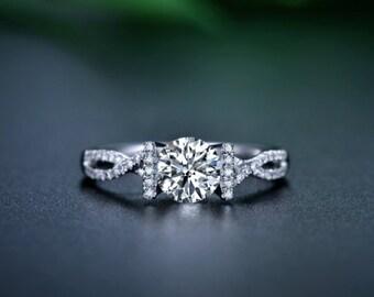 Round Cut Forever Brilliant Moissanite Engagement Ring and Diamonds 950 Platinum Ring