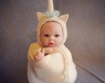beautiful unicorn bonnet. Newborn. Great photo photography prop. Uk seller