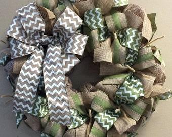 Burlap Wreath Wall Hanging-Natural Burlap, Sage or Moss Green