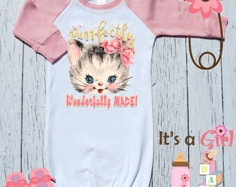 graphic tee baby girl Layette | raglan | baseball | infant gown | baby gown | new baby |shower|new baby gift |Purr-fectly Wonderfully made