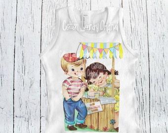Lemonade Stand  tank tee shirt vintage inspired girls top   Lemondade Stand tee shirt