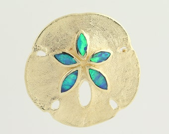 Sand Dollar Brooch / Pendant - 14k Yellow Gold Opal Slices October Gift L8939