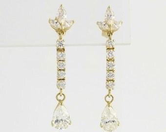 40% OFF Elegant Cubic Zirconia Dangle Earrings - 14k Yellow Gold 3ctw CZ DEW Fashion CZs x4936