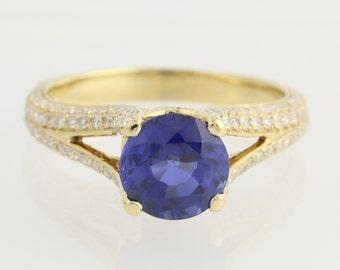 Synthetic Sapphire & Diamond Ring - 18k Yellow Gold 4.43ctw N1871