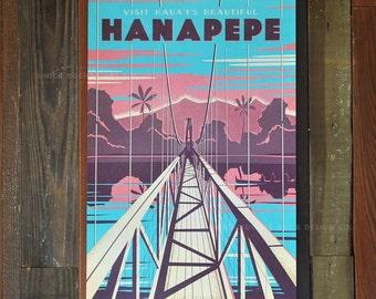 Hanapepe Swinging Bridge - 12x18 Retro Hawaii Travel Print
