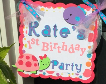 Girl Turtle and Fish Personalized Party Door Sign