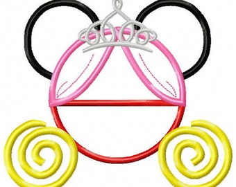 Cinderella Carriage Mouse Ears for a Disney vacation Embroidered/Appliqued Tee