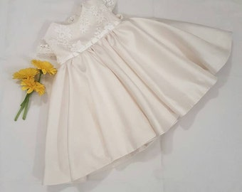 Averie christening baptism communal flower girl baby girl formal lace dress in ivory