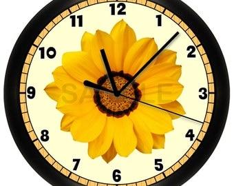 Yellow Daisy Flower Wall Clock