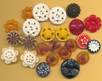 Vintage Lacy Plastic Buttons ca. 1940's  Lot of 24