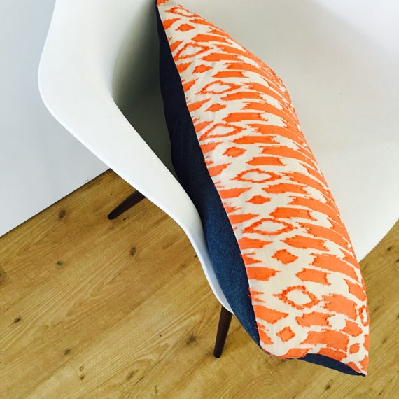 Mid Century Lumbar Pillow : Mid-Century Modern Coral Orange Pillow Cover 14x24
