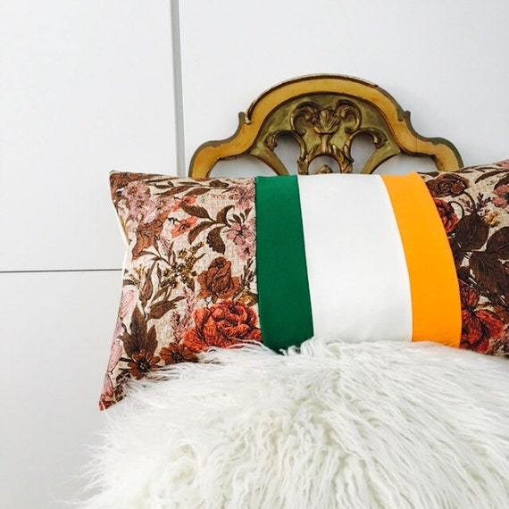 "SALE Irish Pillow Cover 14""x24"" Lumbar Cushion Irish Flag Color-Blocked Vintage Fabric Beige Brown Blush Pink Floral Roses Green Orange"