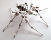 White Beaded Spider, Creepy Spider, Silver White Spider, Unique Spider, Spider Pendant, free shipping