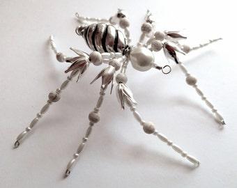White Beaded Spider, Creepy Spider, Silver White Spider, Unique Spider, Spider Pendant