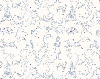 Fabric by the Yard - Whisper by Lizzy House - Constellation Blue Metallic