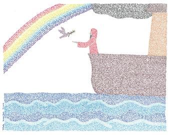 Micrography Greeting Card: Noah & The Ark (Blank Inside)