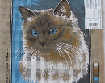 Le Siamois (Siamese) Cat Needlepoint/Tapestry Canvas Margot Paris