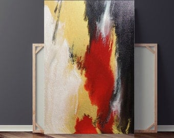 Painting on Canvas,  Large Original Abstract Painting, Pour Painting, Red Painting, Iridescent Metallic, Fine Art, 36x24 Heather Day #2
