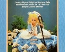 "20%OFF Fibre Fiber Craft LITTLE BO Peep Nursery Rhyme 13"" Bed Doll - Crochet Doll Dress Clothes Clothing Pattern"