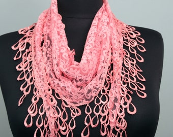 Fringed lace scarf in pinkish coral   ,triangle lace scarf , guipure scarf, summer scarf