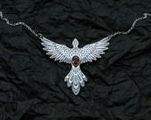 Phoenix Necklace Etched Flaming Bird - Silver Garnet Necklace - Fire Element Necklace