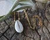 14k Solid Gold - Quartz solitaire necklace - pendant necklace - lace agate