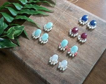 Cluster earrings - Large gemstone stud earrings - wire wrapped cluster studs earrings