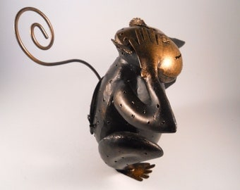 Coppertone Black Metal Monkey See No Evil Candle Holder