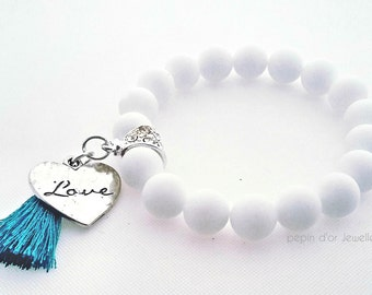Mothersday Gift - White Stretch Bracelet - Bridesmaid gift - Heart Chakra bracelet - Healing Bracelet - Yoga Bracelet - Heart Bracelet