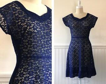 1950s Navy Lace Dress --> 1950s Dress  --> 1950s Cocktail Dress --> 1950 Dress --> 50s Dress --> Lace Dress --> 1950s Clothing