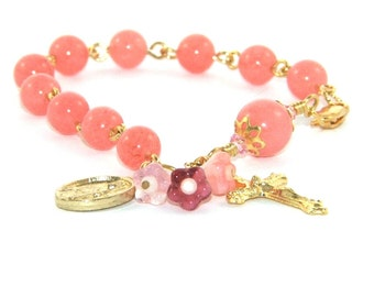 Girl's Rosary Bracelet, Pink Jade, Saint Therese Medal