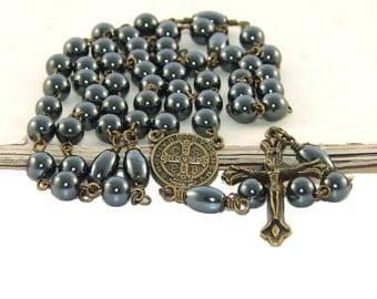 Saint Benedict Hematite & Brass Catholic Rosary,
