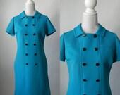 Vintage Dress, 1960 Dress, Blue Vintage Dress, Aqua Blue Dress, 60s Polyester Dress, Leslie Fay, Retro Blue Dress, Mod Blue Dress, 60s Dress