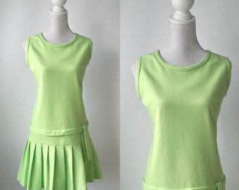 Vintage Dress, Green Vintage Dress, 1960s Green Dress, Flapper Style Dress, Green Flapper Dress, 1920s Style Dress, 60s Mod Dress, Pleats