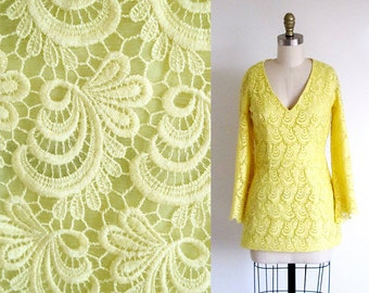 Vintage 60s Angel Wing Blouse, Yellow Lace Tunic, Butterfly Wing Blouse, 1960 Lace Top, Boho Hippie, Sunshine Yellow